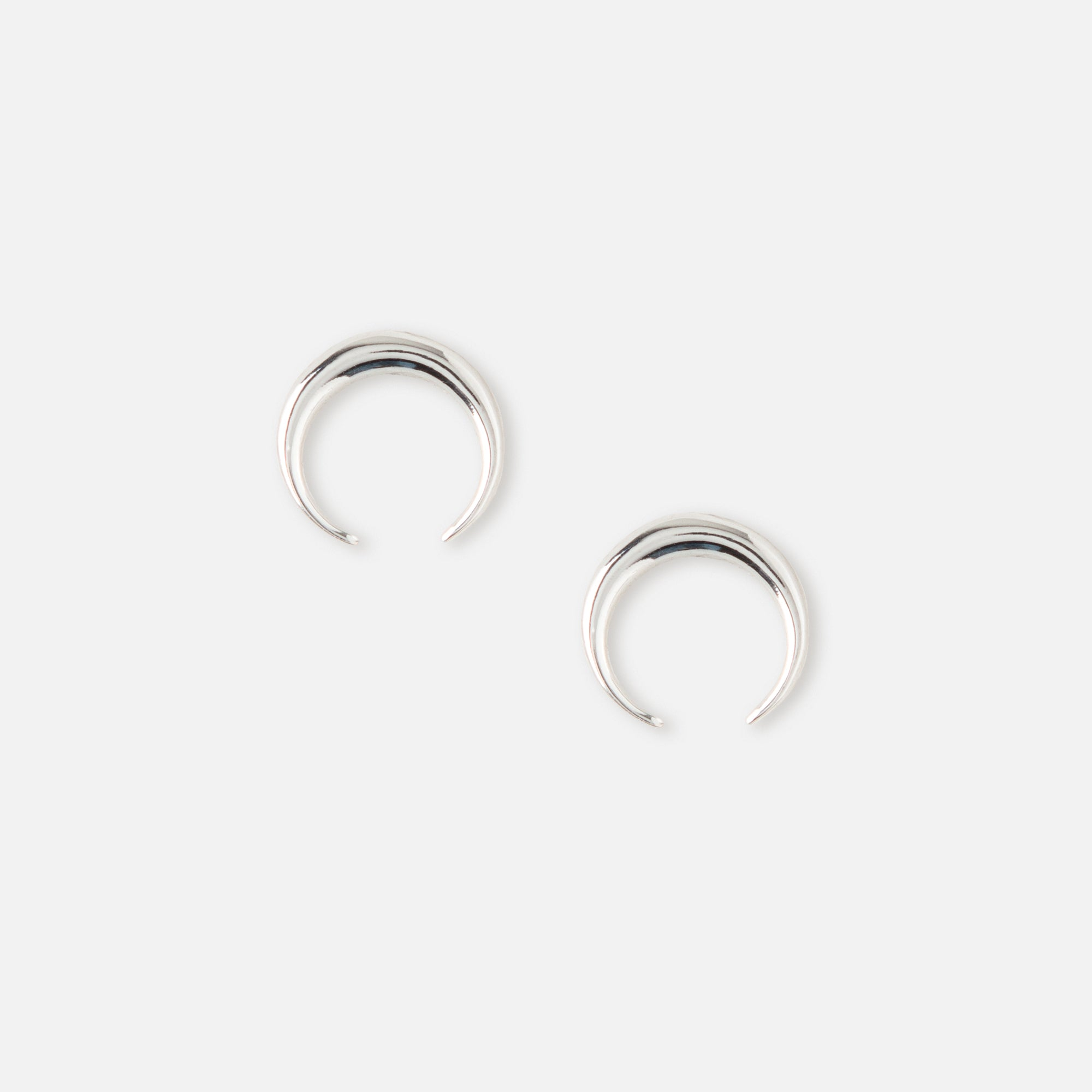 LUXE Mini Crescent Stud Earrings - Silver
