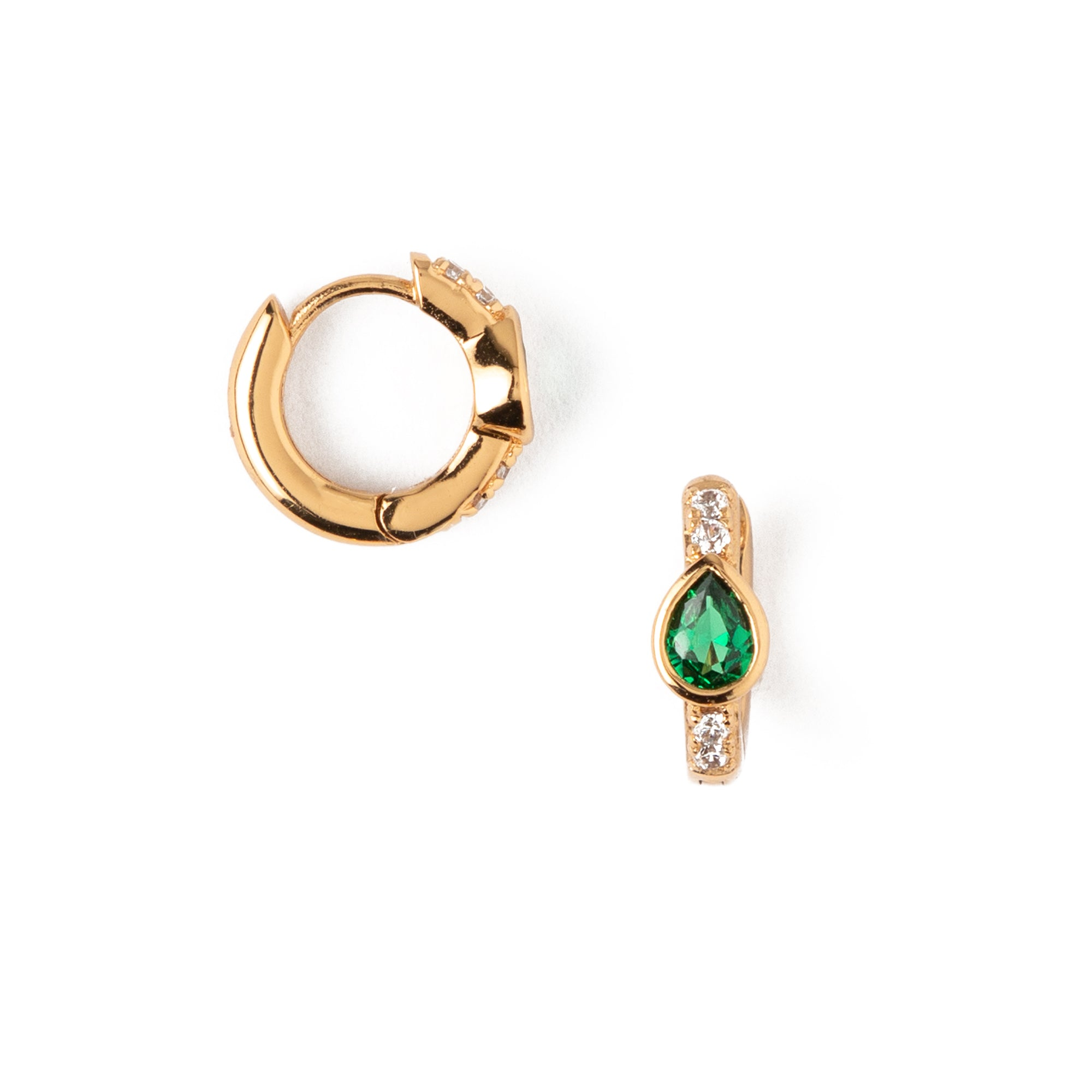 LUXE Emerald Teardrop Huggie Hoop Earrings