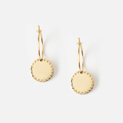 LUXE Coin Hoop Earrings - Gold