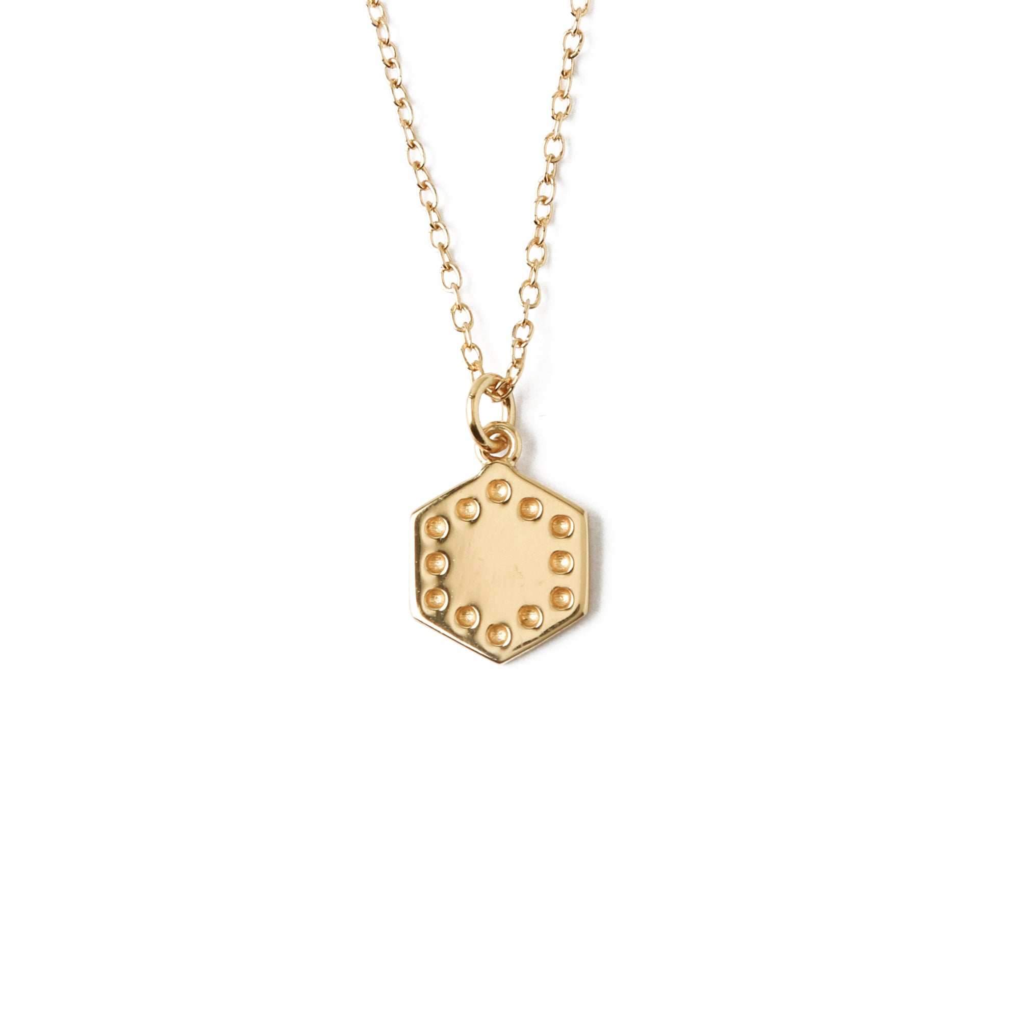LUXE Small Hexagon Charm Necklace - Gold