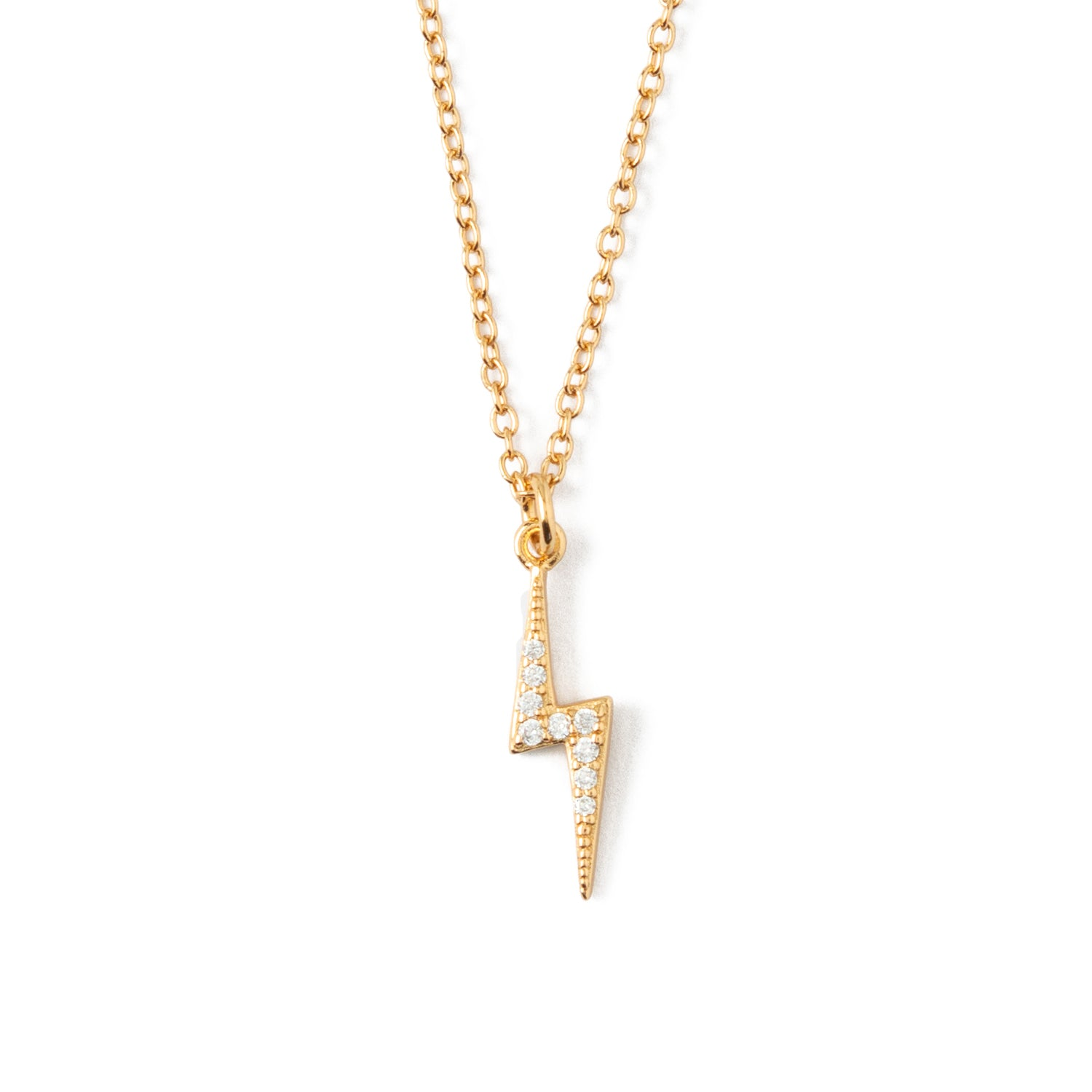 LUXE Pave Lightning Bolt Necklace