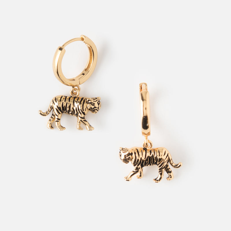 Tiger Huggie Hoop Earrings