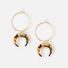 Tortoiseshell Crescent Hoop Earrings