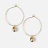 Metal Shell Charm Hoops