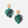 Resin Palm Leaf & Coin Earrings