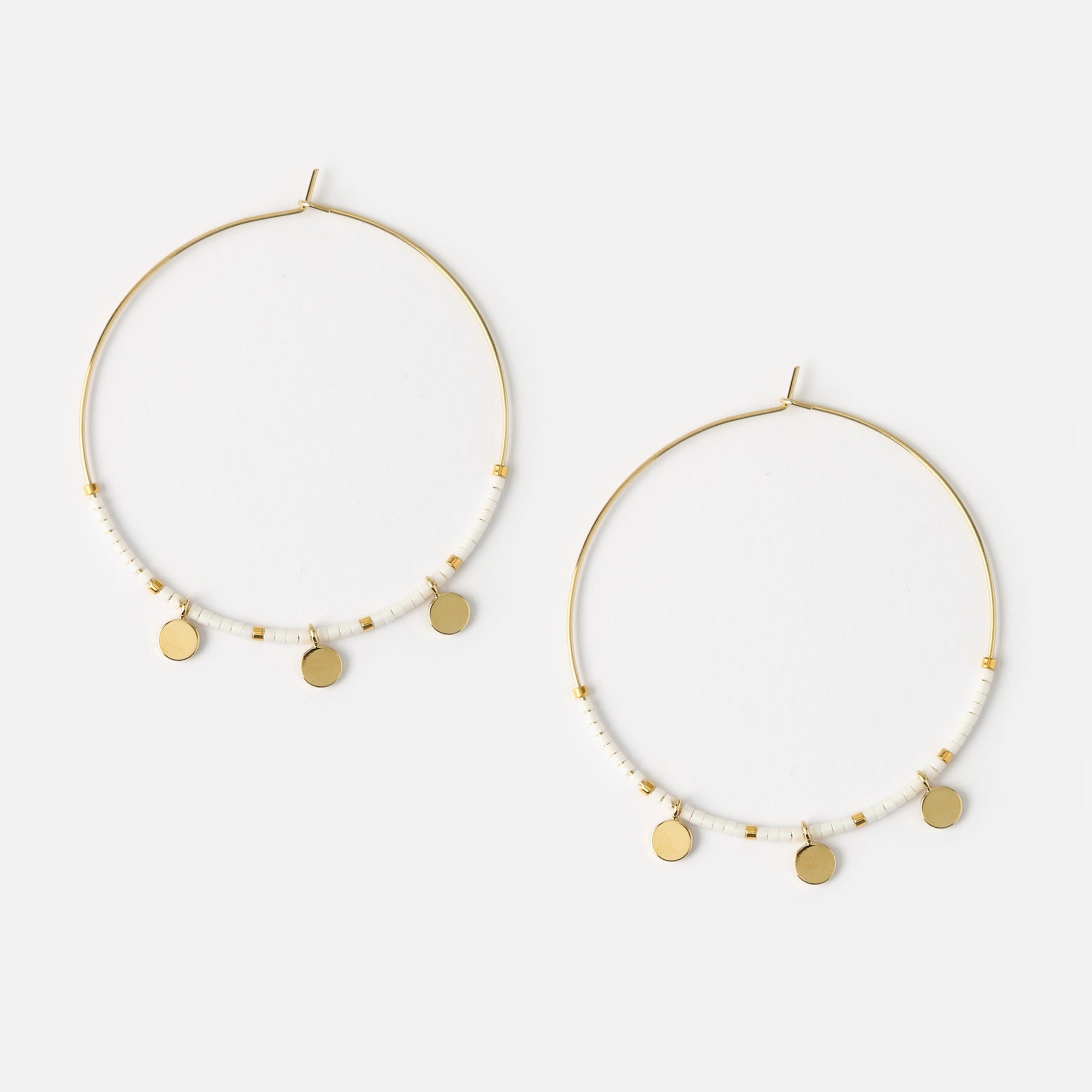 Coin Charm Seedbead Hoop Earrings - White