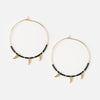 Tusk Charm & Seedbead Hoop Earrings - Black