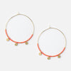 Coin Charm & Seedbead Hoop Earrings - Coral