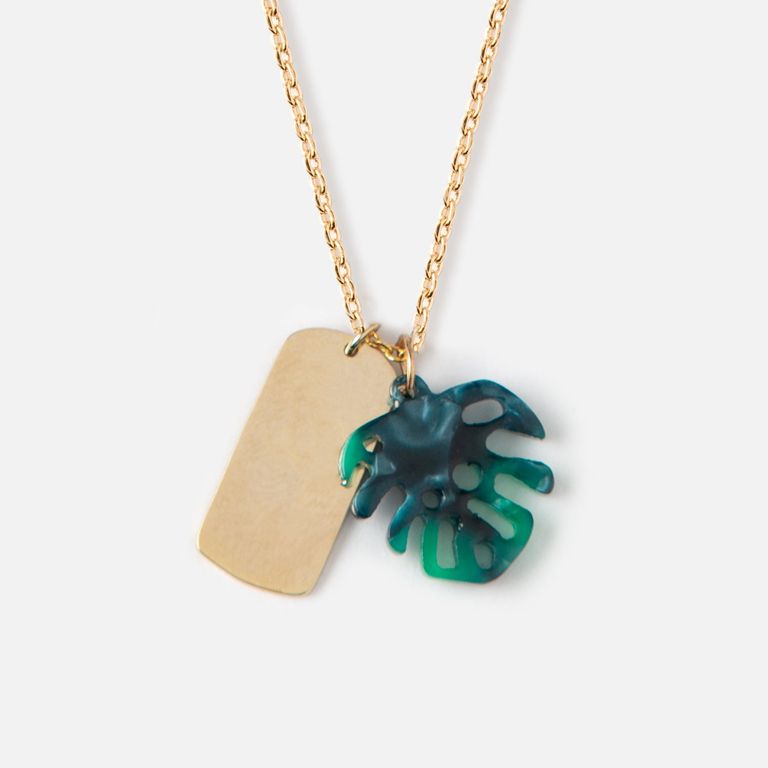 Tag & Palm Leaf Ditsy Necklace