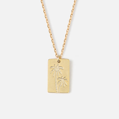 Engraved Palm Tree Tag Ditsy Necklace