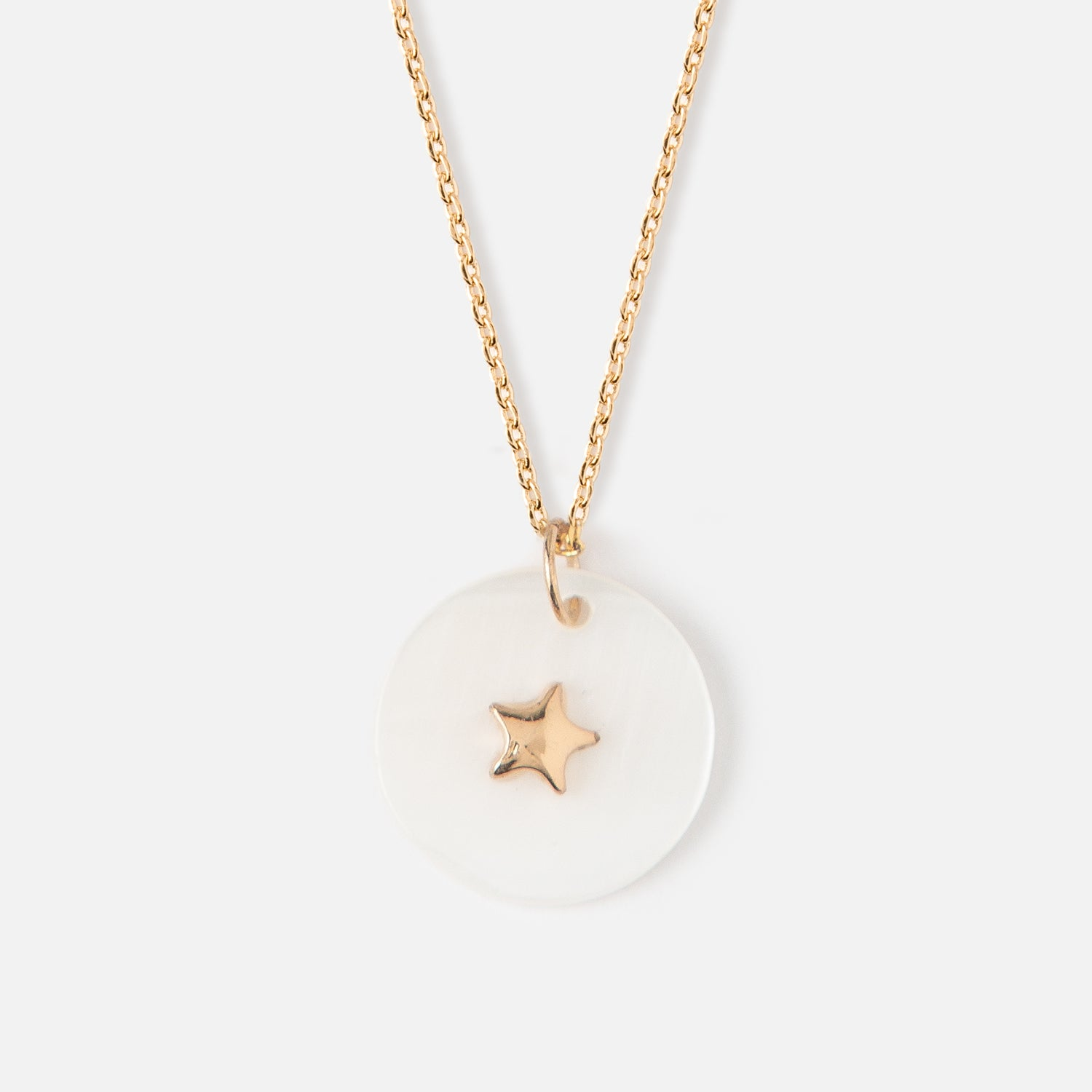 Star Shell Disc Charm Necklace
