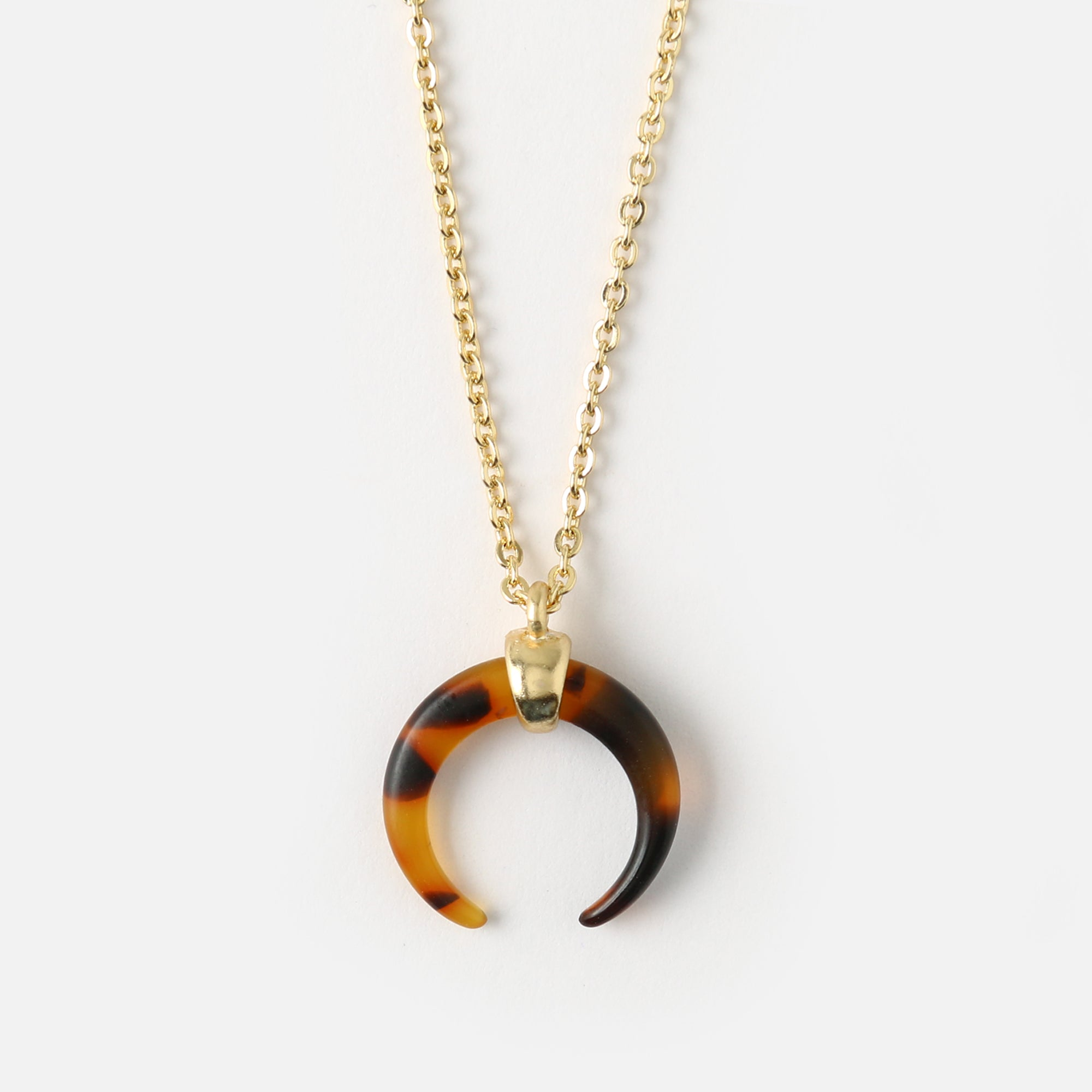 Tortoiseshell Crescent Ditsy Necklace