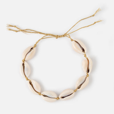Cowrie Shell Gold Cord Bracelet
