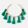 Multi Tassel Bangle - Emerald
