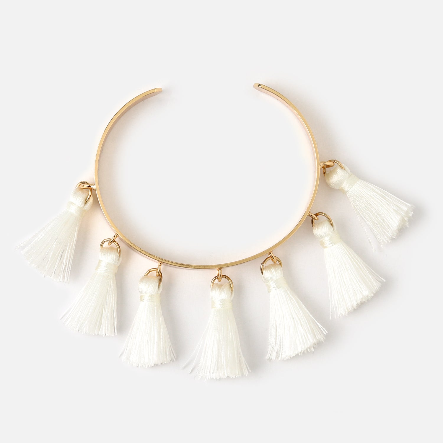 Multi Tassel Bangle - White