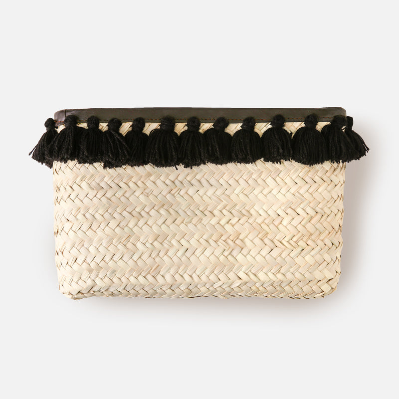 Tassel Straw Clutch Bag - Black