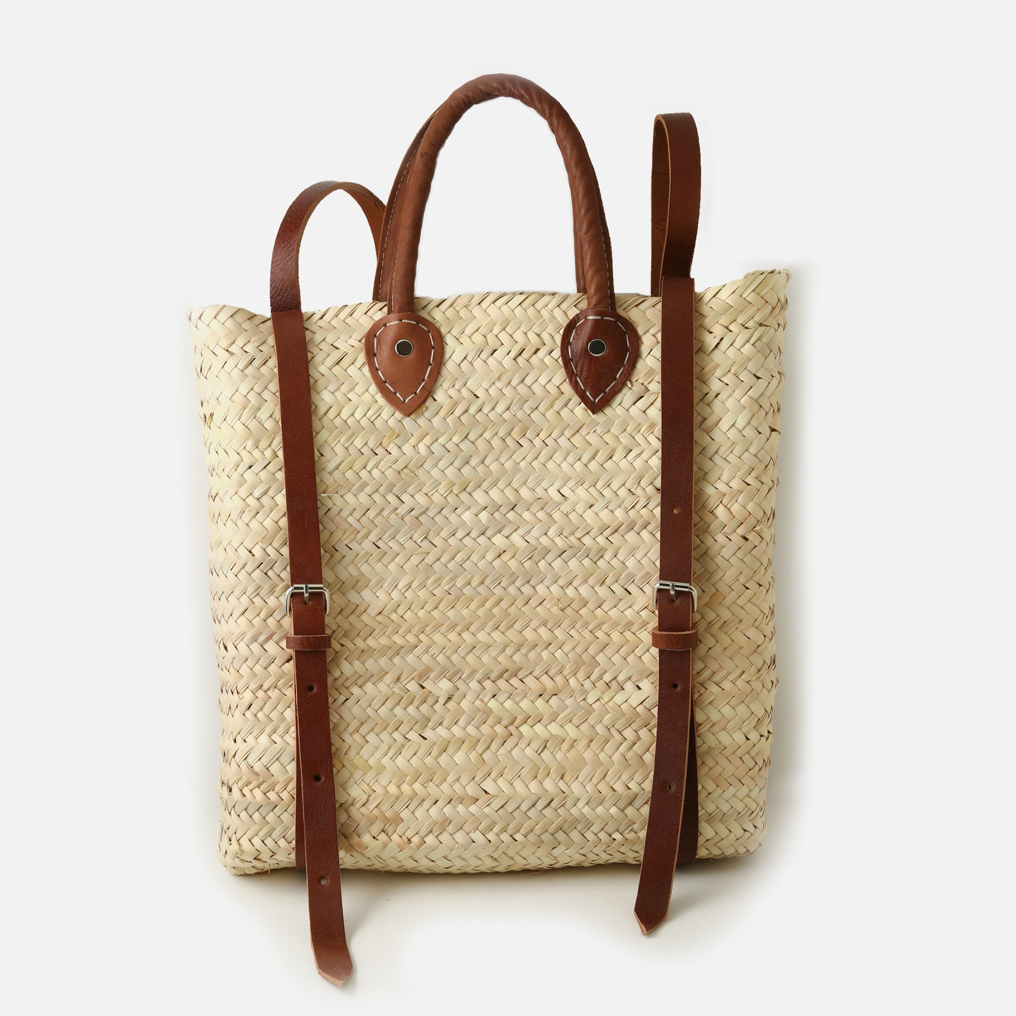 Square Straw Backpack