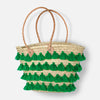 Tassel Straw Basket Bag- Emerald