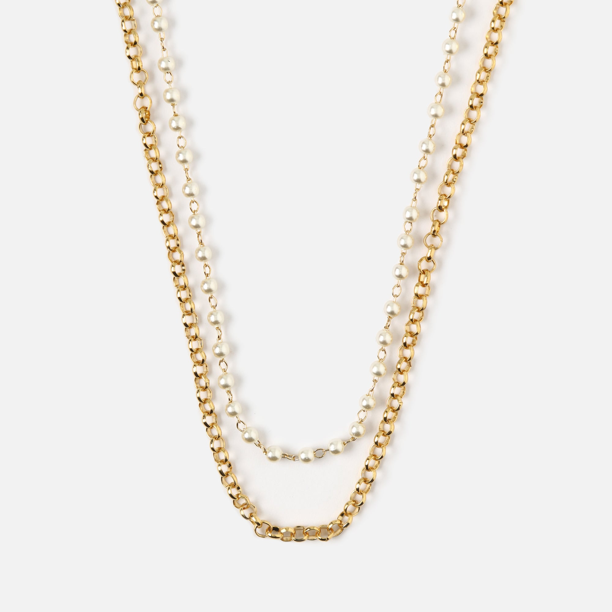 Pearl & Chain Row Layered Necklace