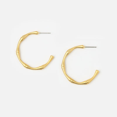 Bamboo Hoop Earrings - Medium