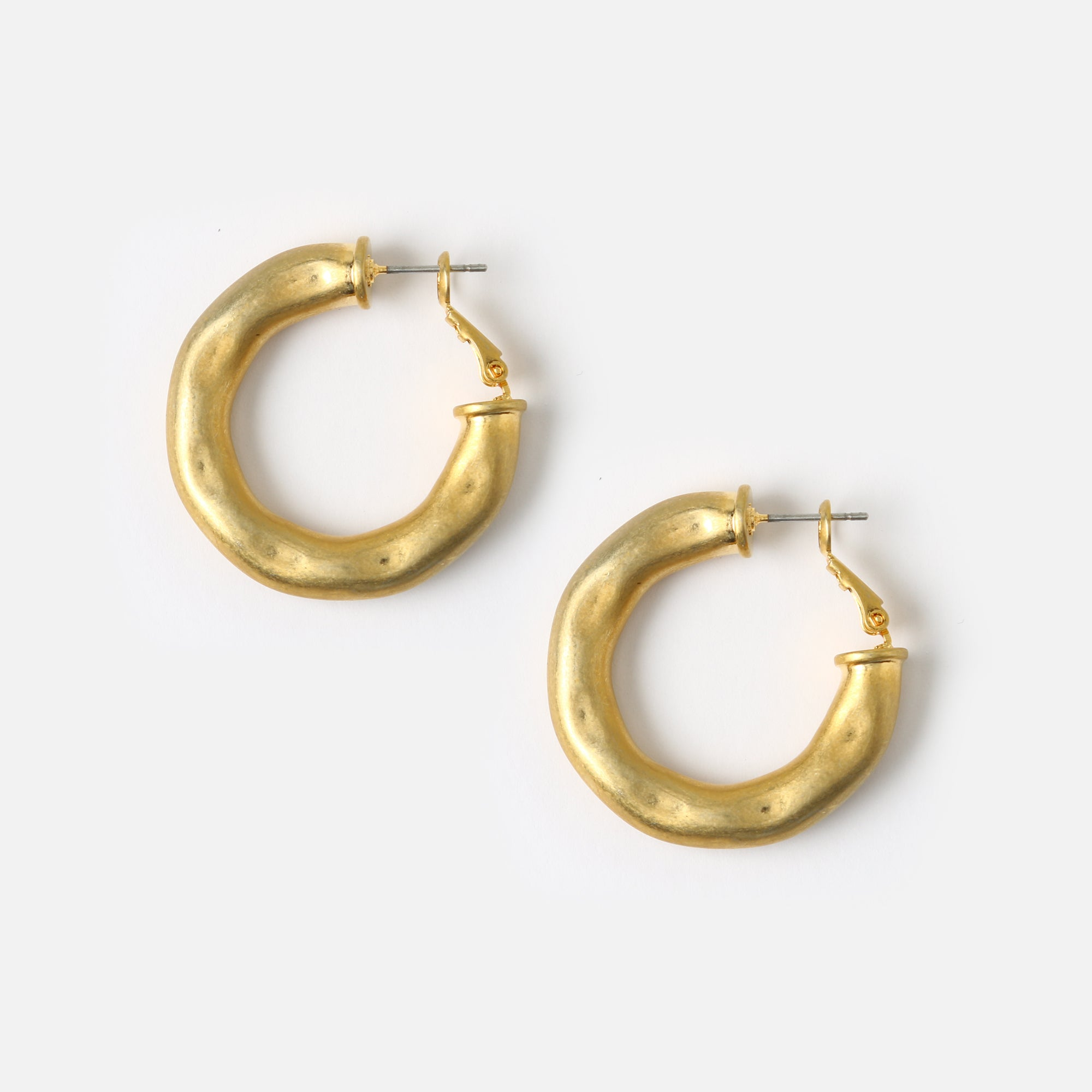 Chunky Gold Textured Hoop Earrings