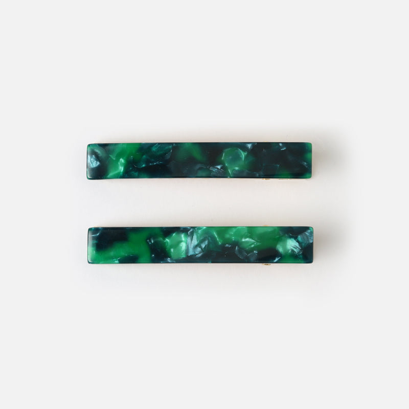 Emerald Resin Hair Clips