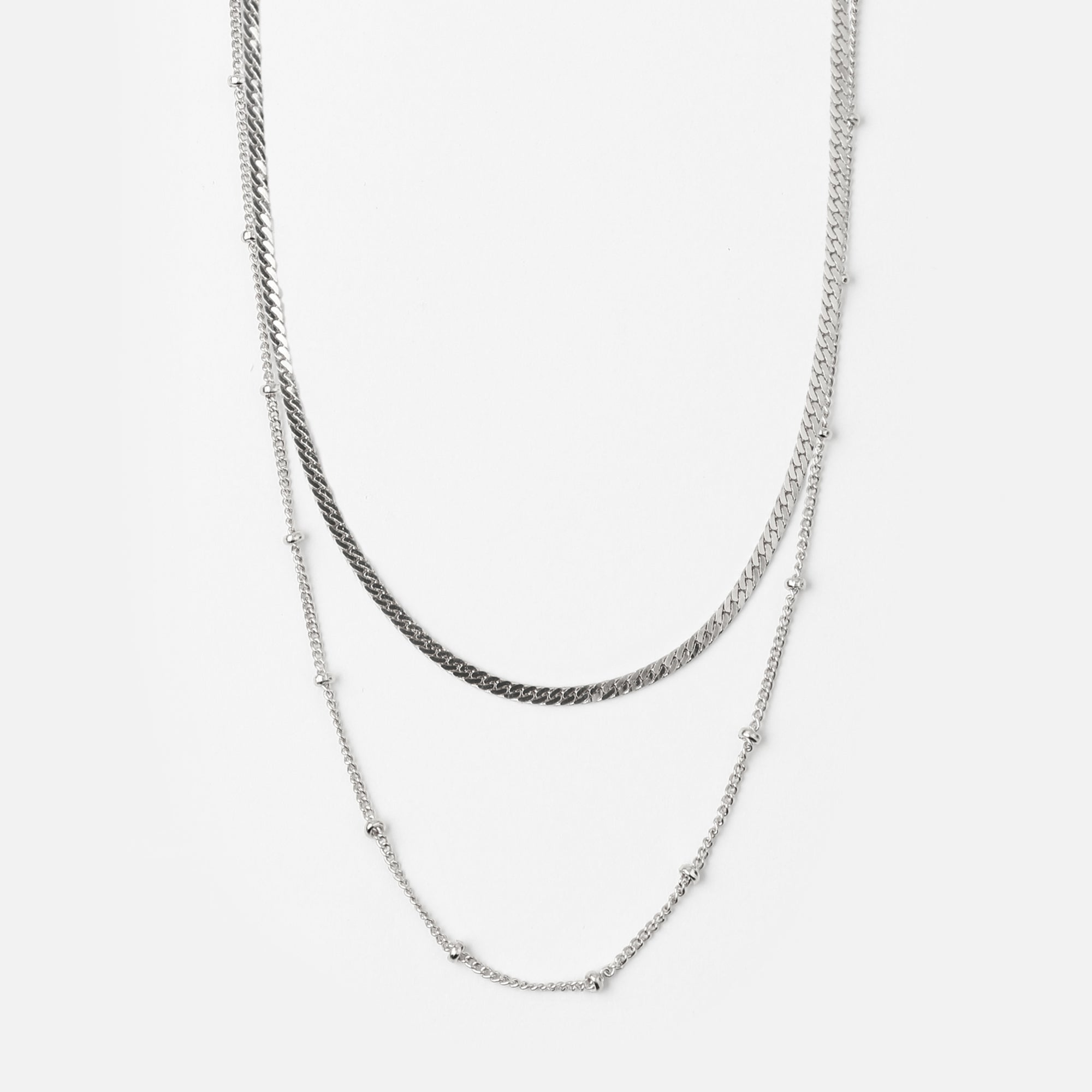 Satellite & Flat Curb Layered Necklace - Silver