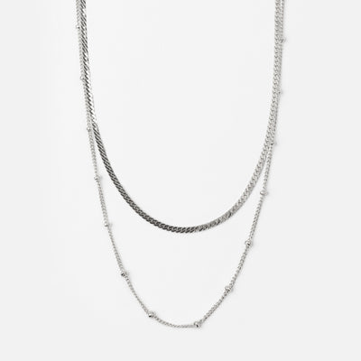 Satellite & Flat Curb Layered Chain - Silver