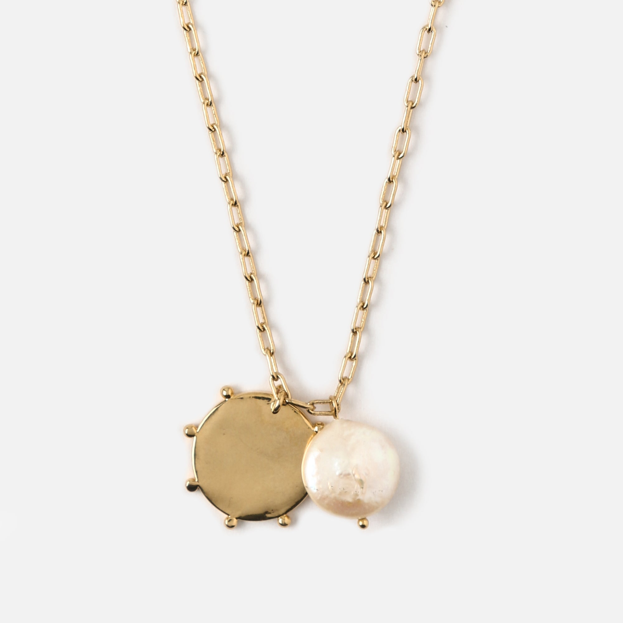 Pearl & Medallion Long Link Necklace
