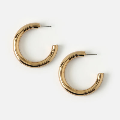 Medium Clean Chunky Hoop Earrings - Gold
