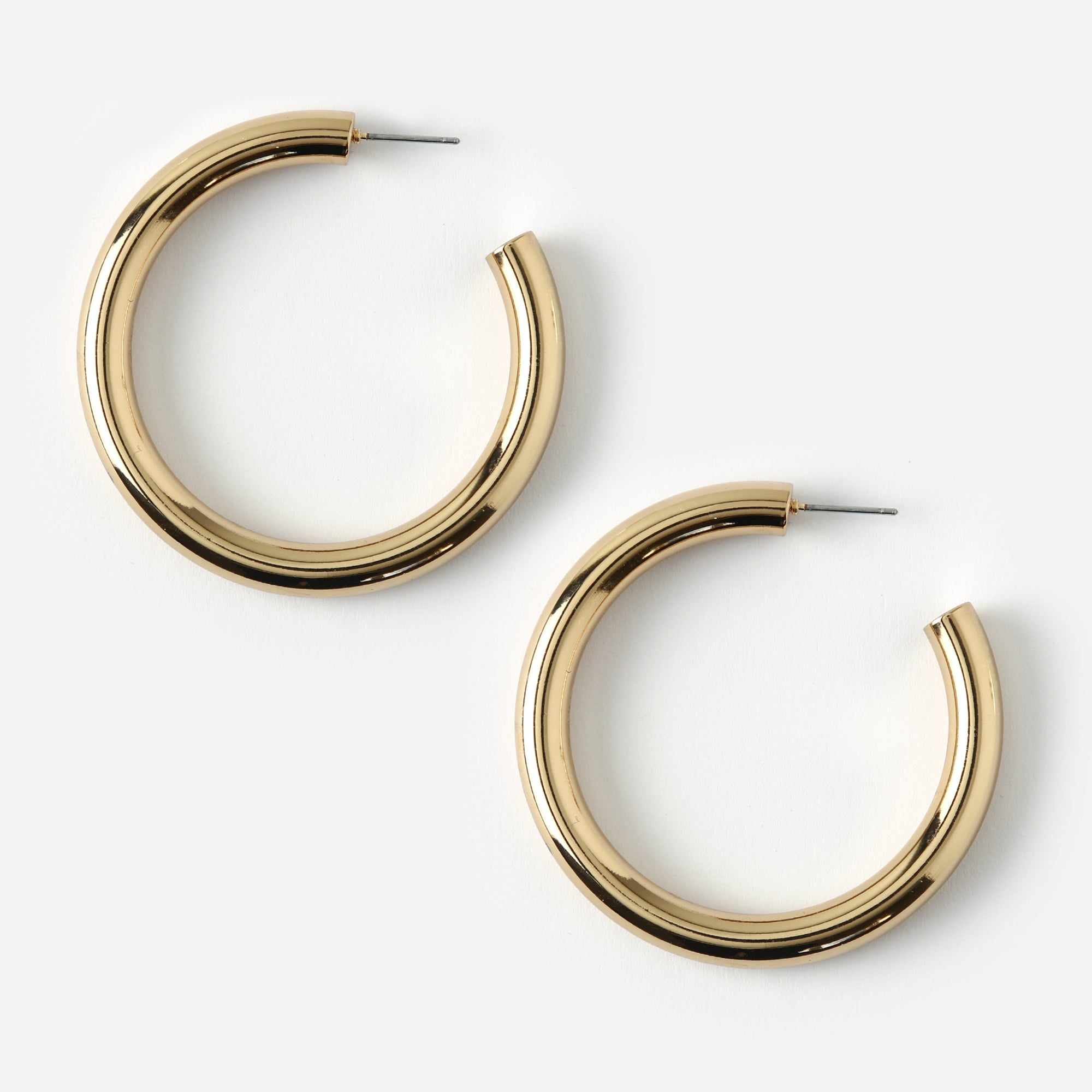 Large Clean Chunky Hoop Earrings - Gold