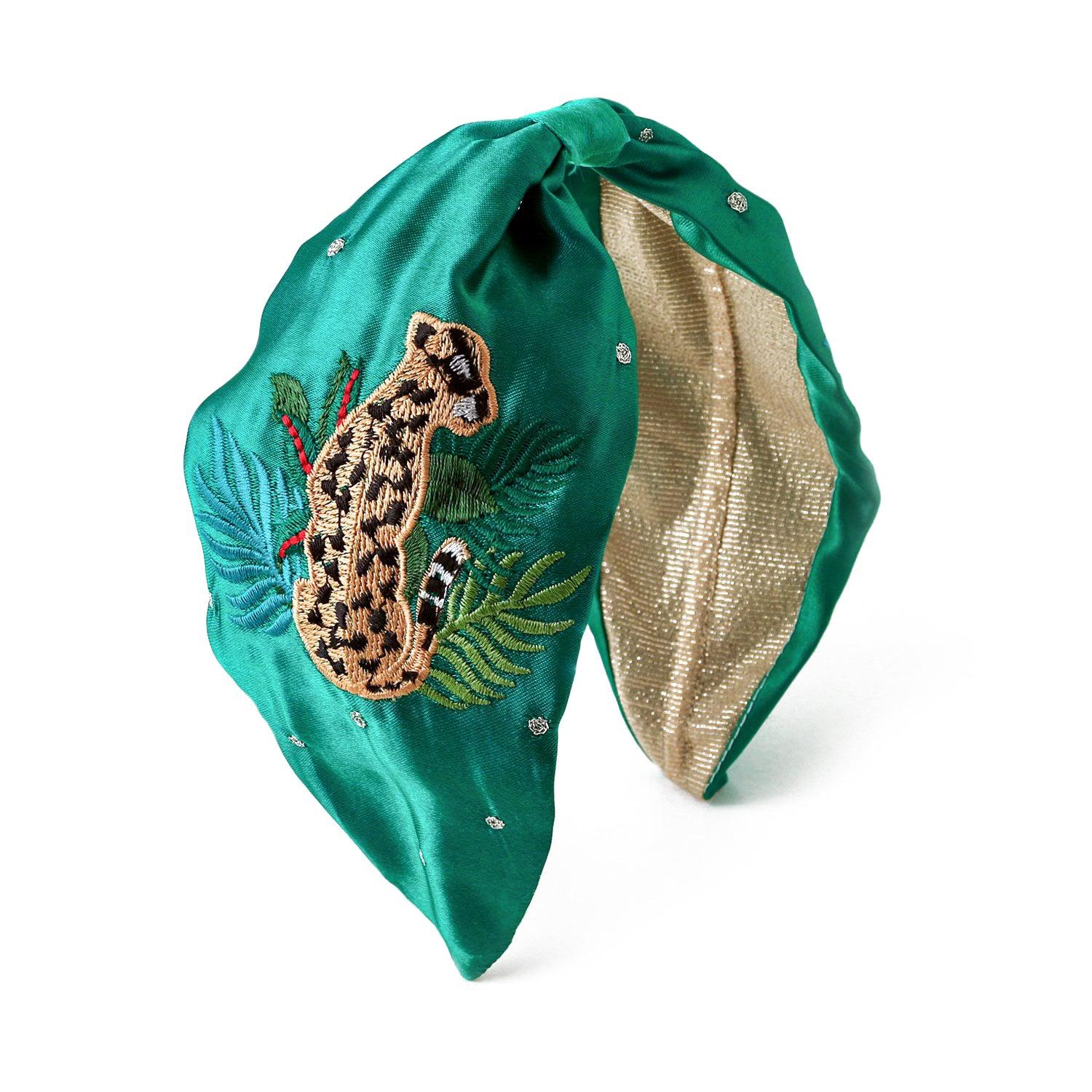 Leopard Embroidered Turban Headband - Emerald