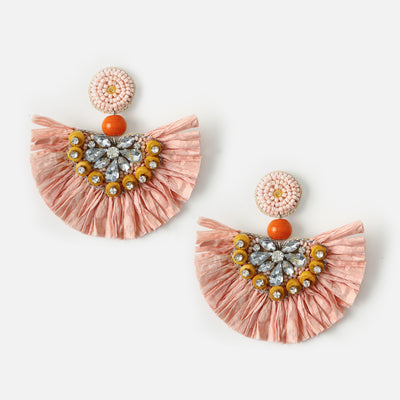 Raffia Fan Embellished Earrings
