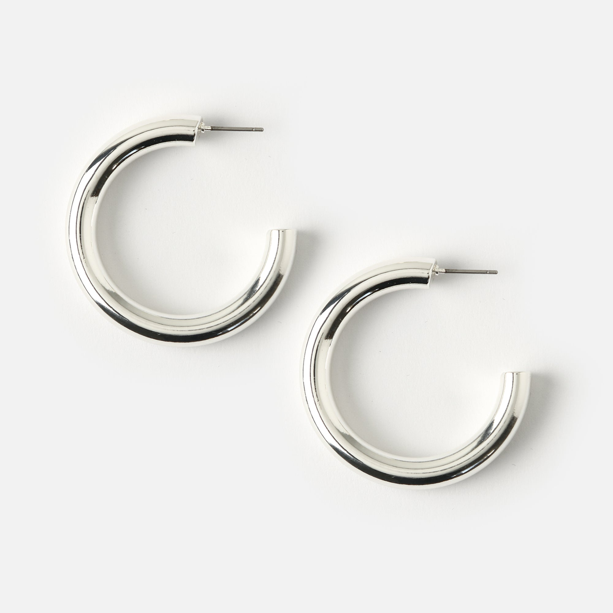 Medium Clean Chunky Hoop Earrings - Silver