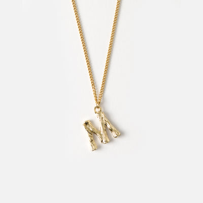 Gold Plated Bamboo Initial Necklace
