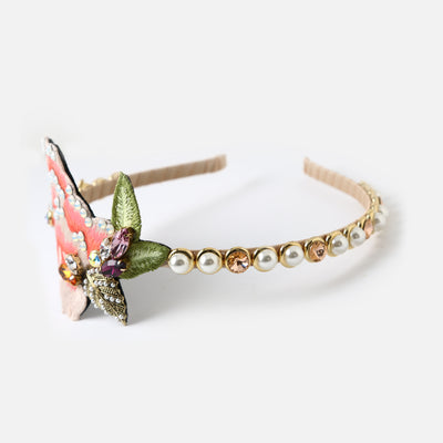 White Opal embroidered pearl hairband