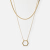 Gold Open Hex & flat curb necklace