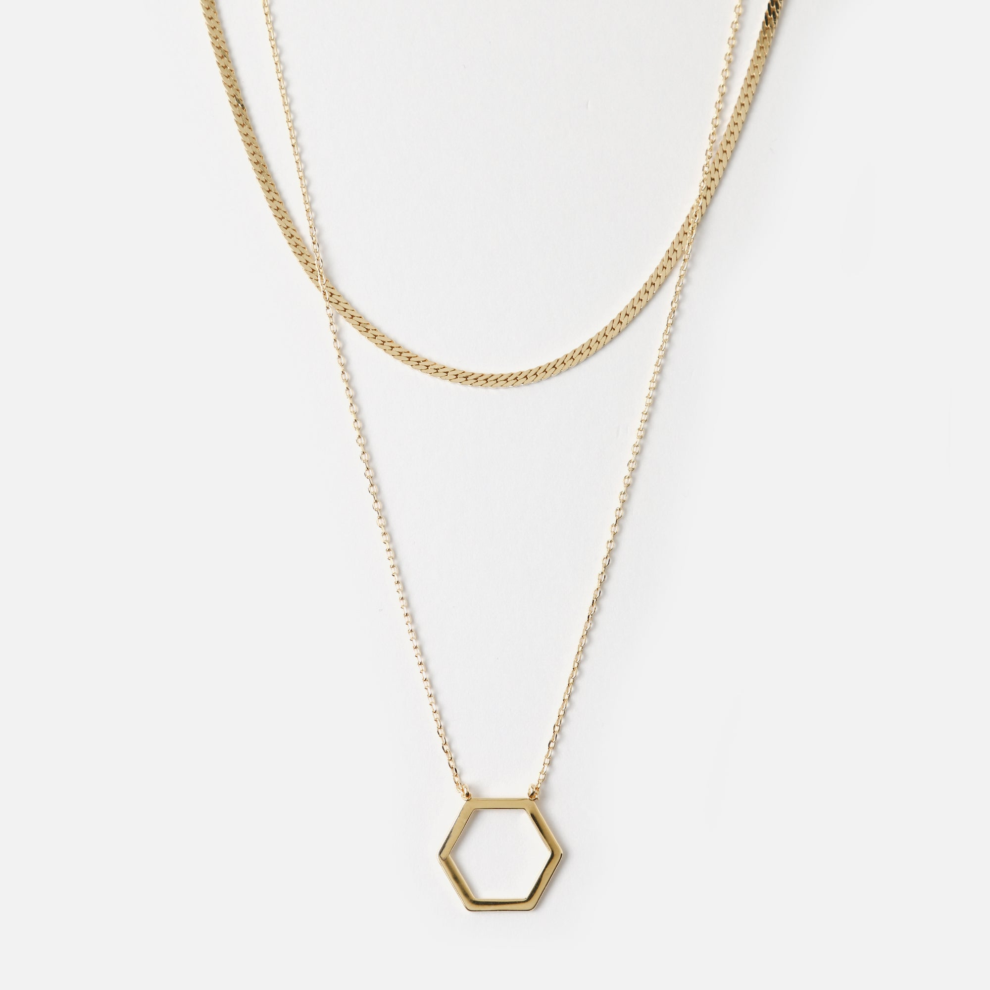 Hexagon & Curb Two Row Necklace