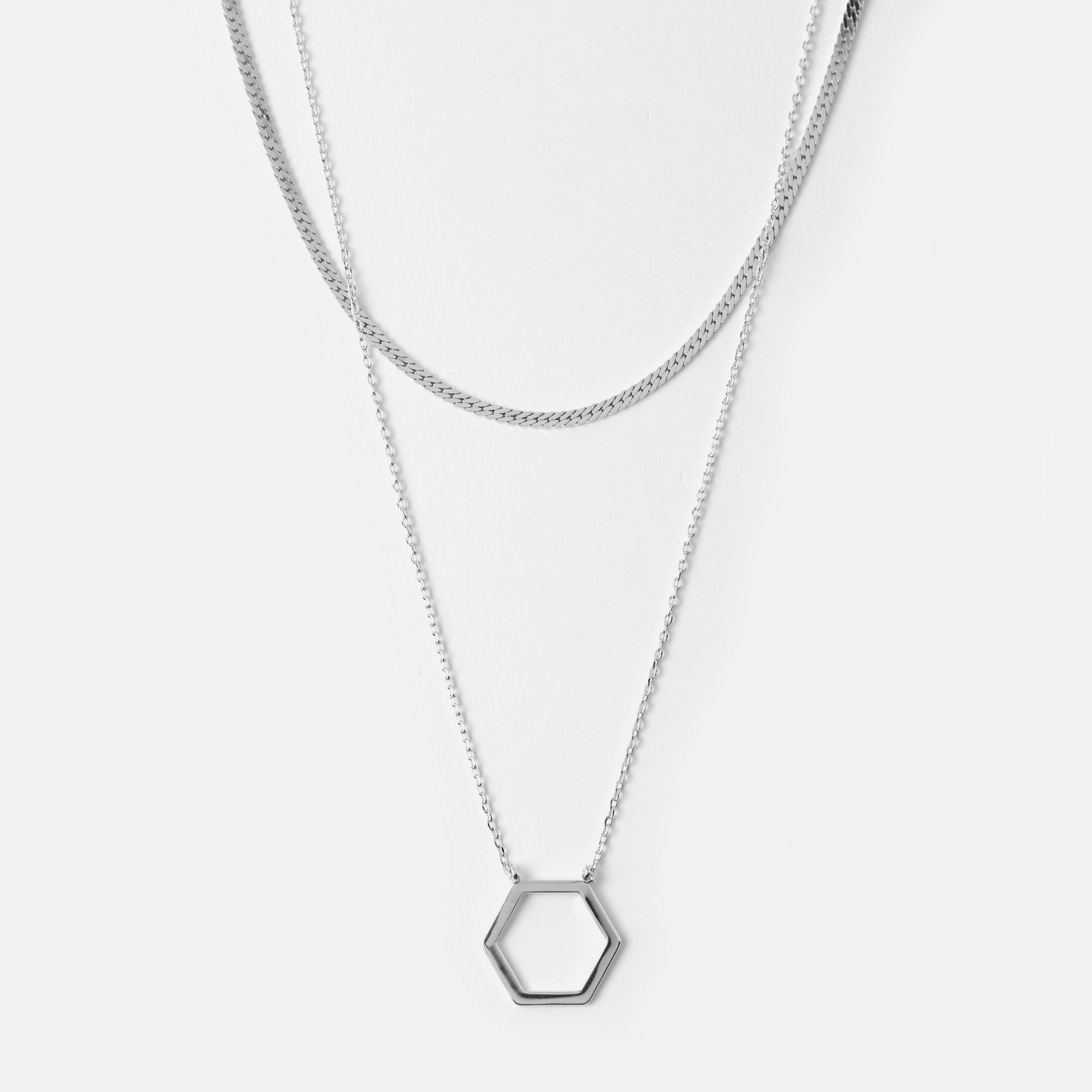 Silver Open Hex & Flat Curb Necklace