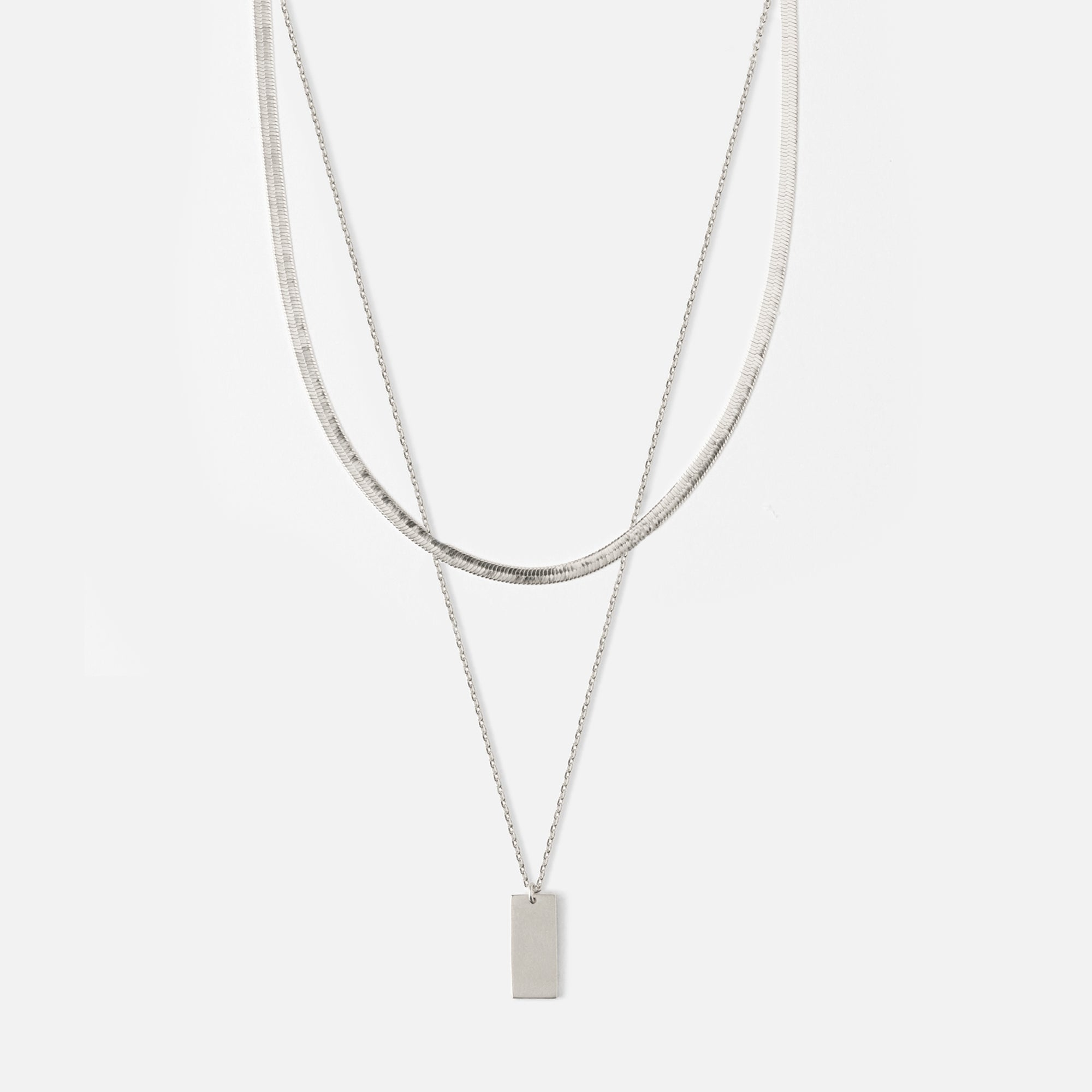 Clean Tag & Flat Curb Necklace - Silver