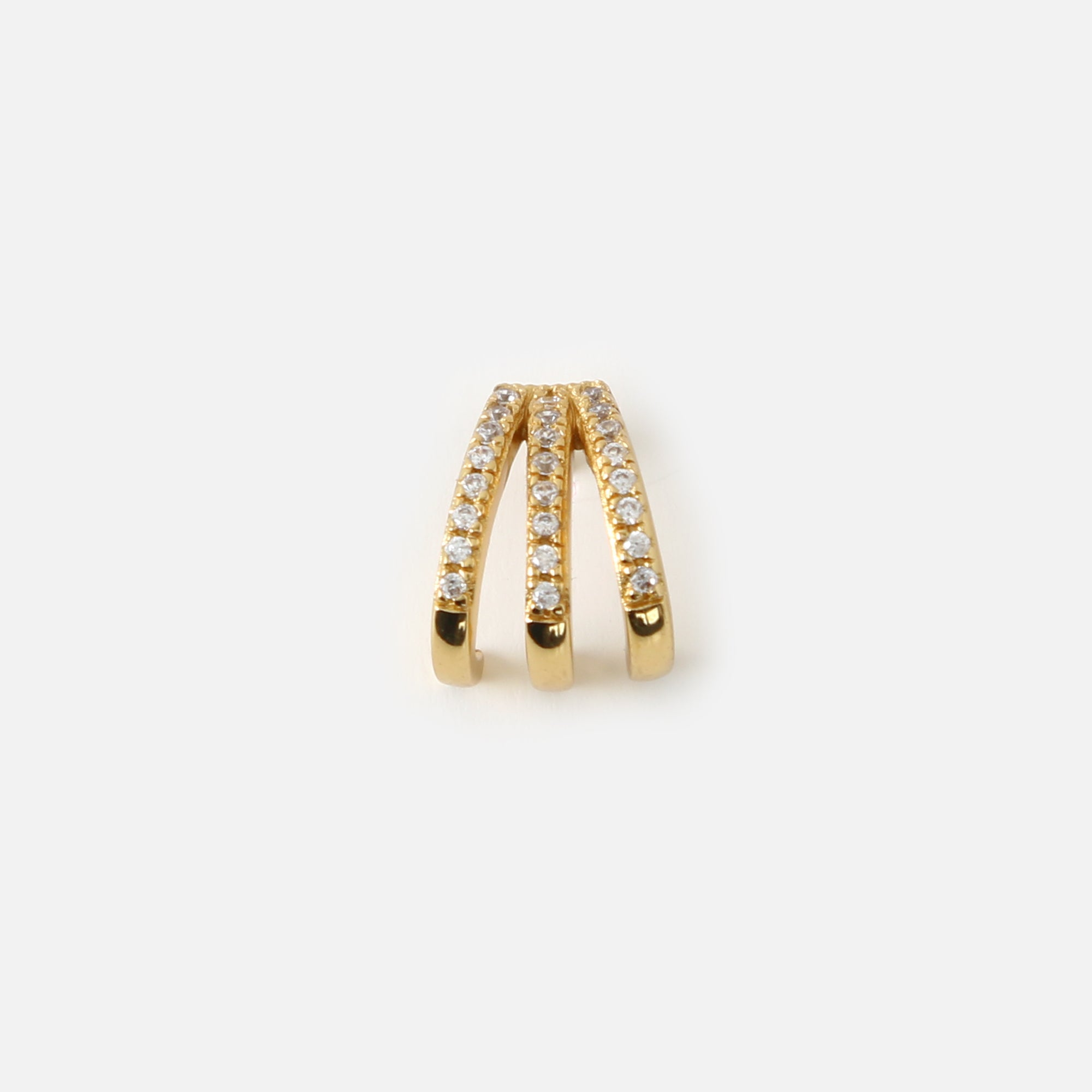 Pave Three Bar Stud Ear Cuff