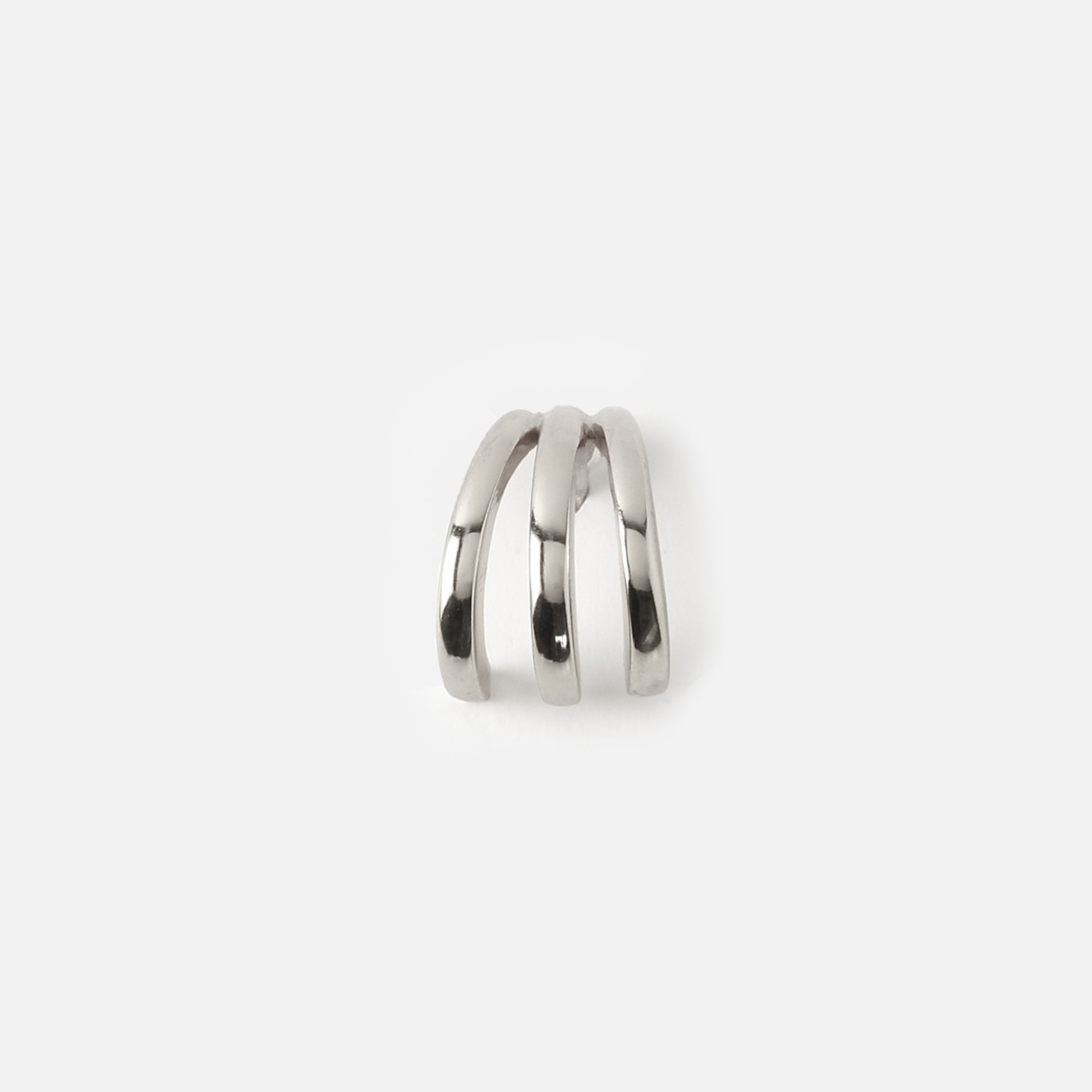 Three Bar Stud Ear Cuff - Silver