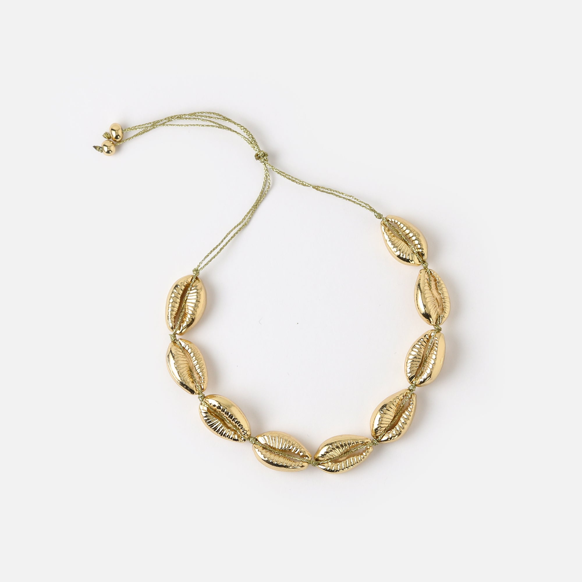 Gold Cowrie Shell Cord Bracelet
