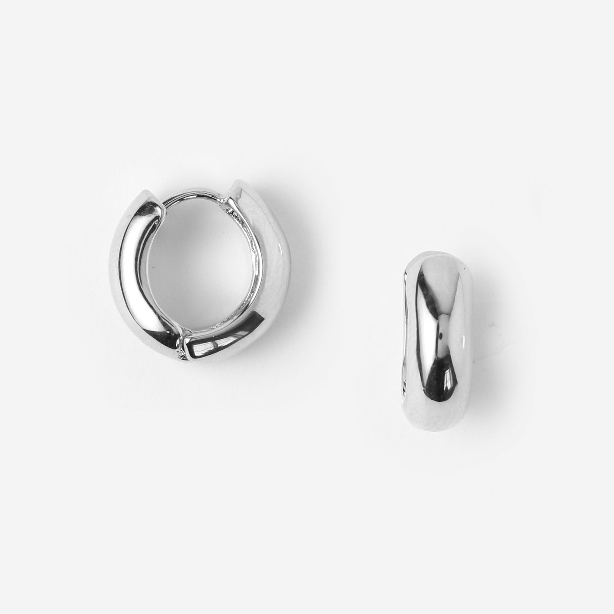 Chunky Mini Hoop Earrings - Silver