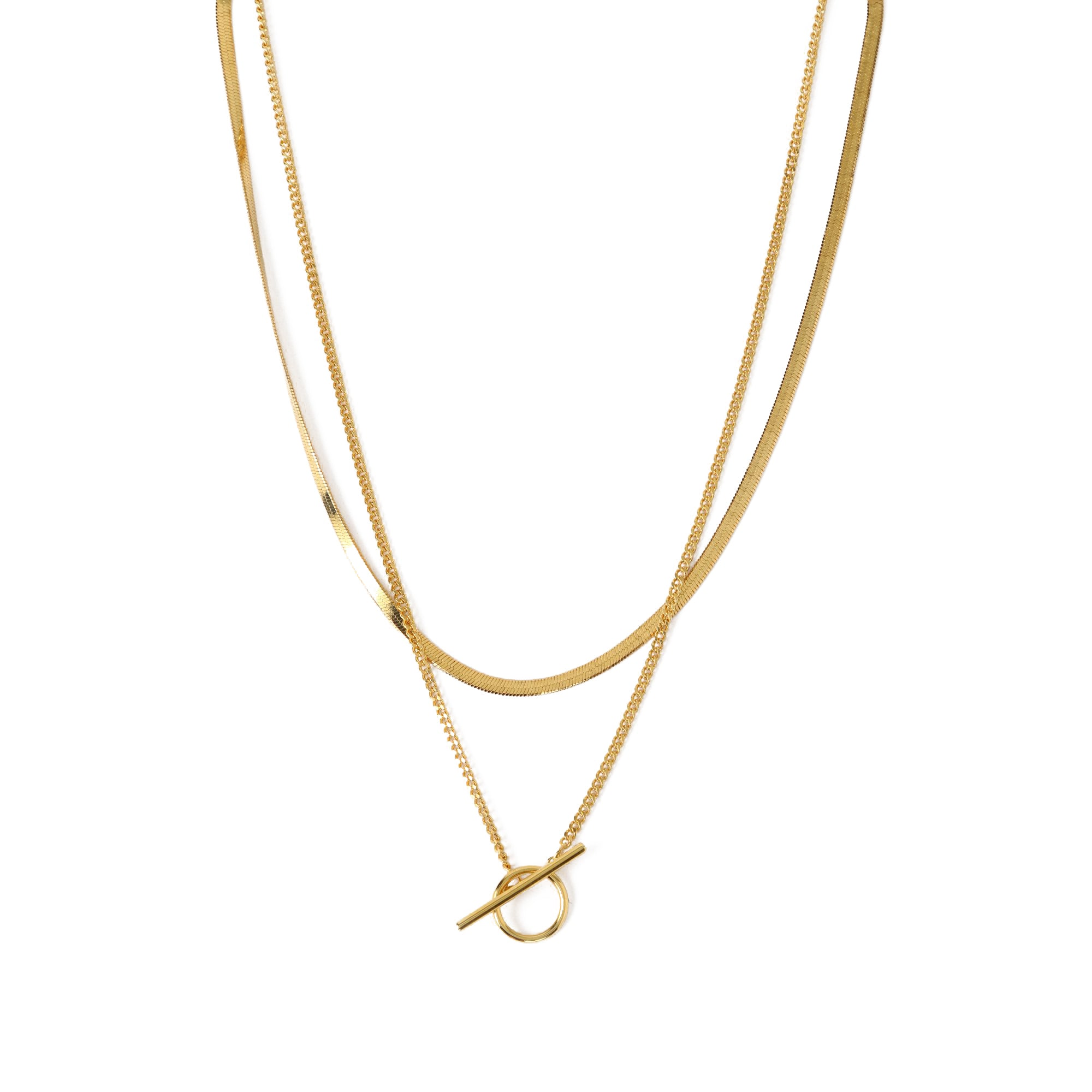 Flat Curb & T-Bar Two Row Necklace