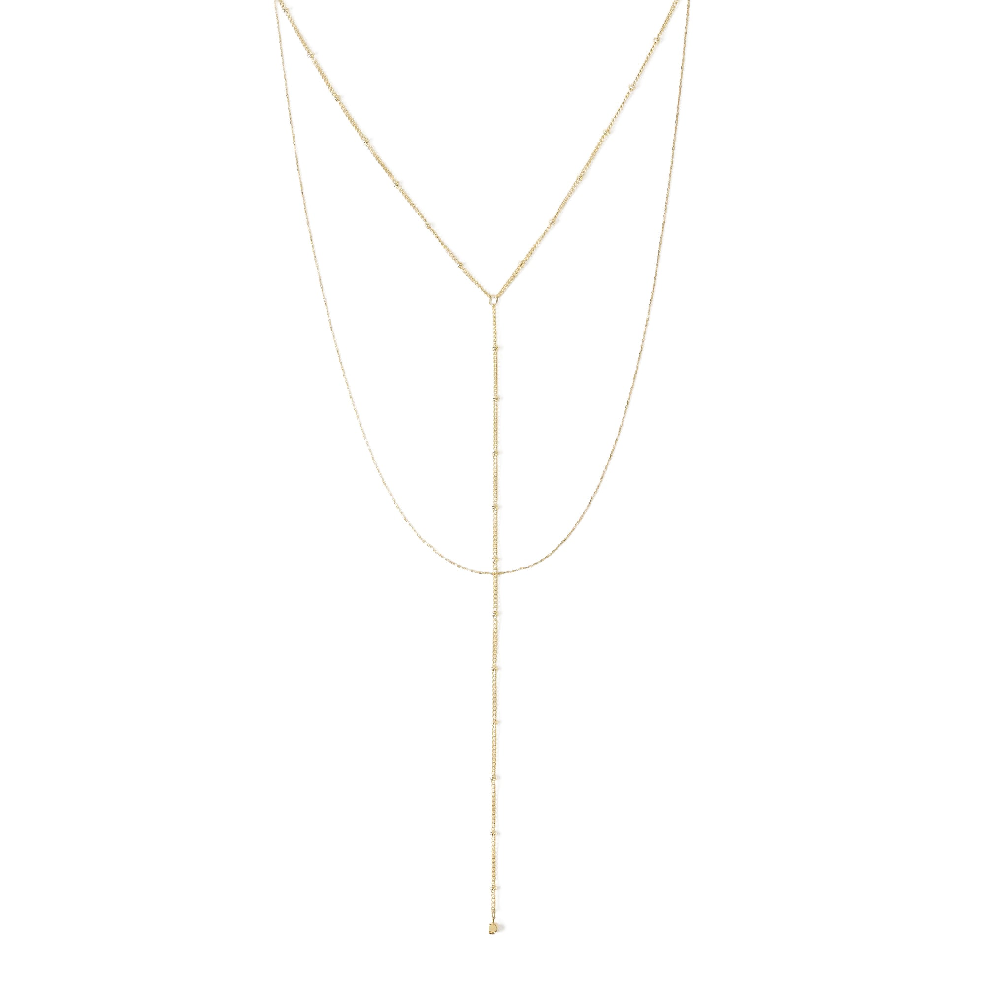 Two Row Fine Satellite Lariat Chain