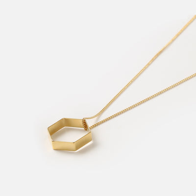 Gold Open Hexagon Necklace