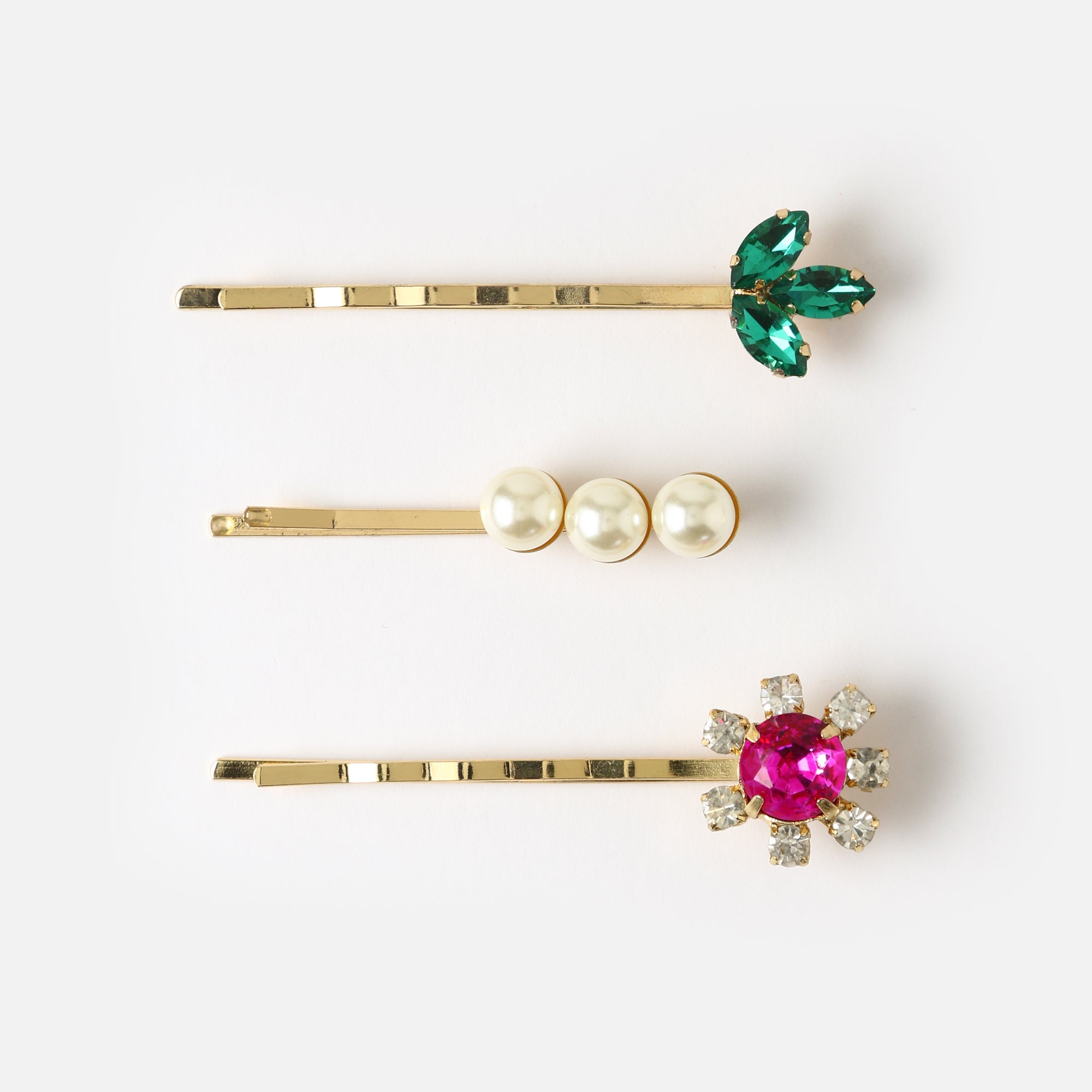 Gem Flower & Pearl Hair Slides