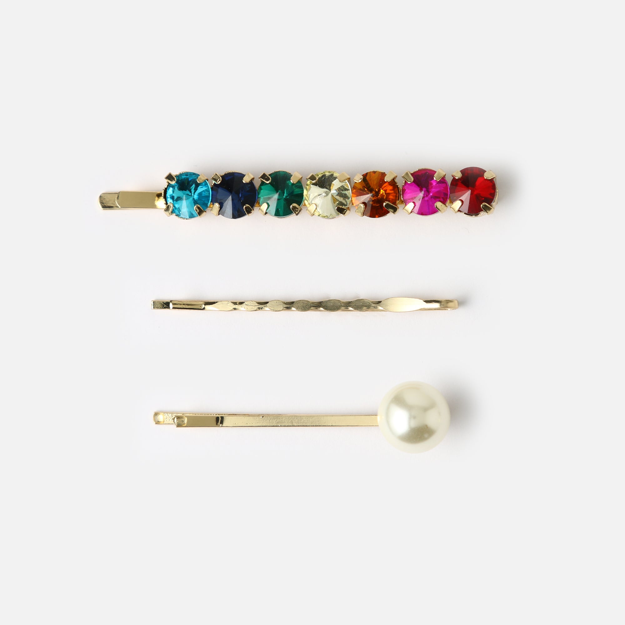 Rainbow Gem & Pearl Hair Slides