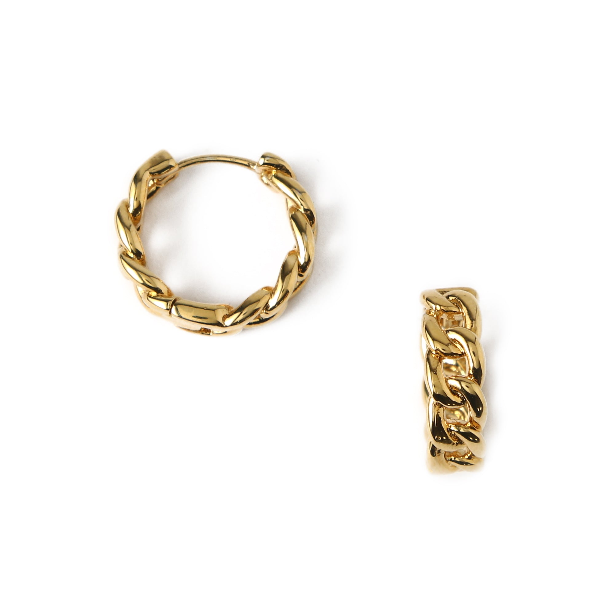 Chain Huggie Hoop Earrings - Gold